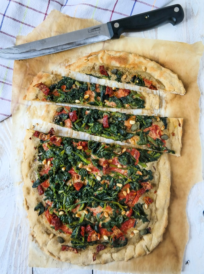 vegan pizza with lentil hummus