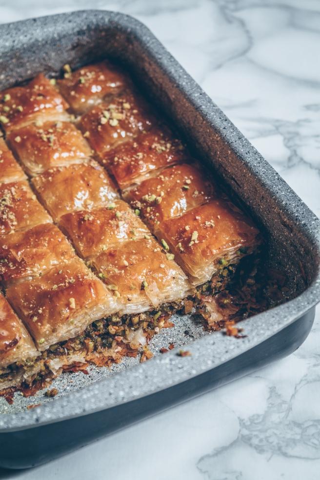 vegan sugar free pistachio baklava