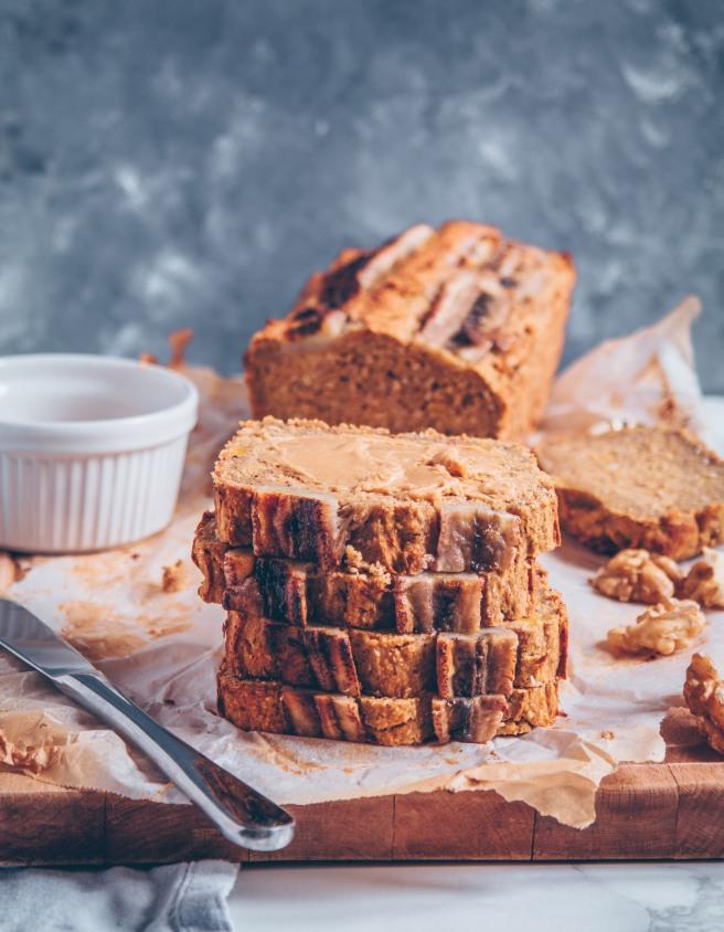 vegan pumpkin banana bread senza zucchero